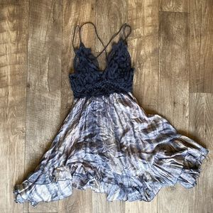 Free people adella blue combo dress